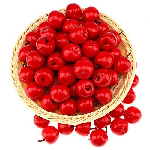 Gresorth 30 Stück Künstliche Lebensechte Mini Rot Apfel Deko Gefälschte Früchte Obst Party Festival Dekoration