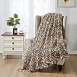 softan Manta De Cama De Piel Sintética Estampado De Leopardo, Manta Reversible Suave y Esponjosa De Lana De Visón, Lavable a Máquina, Beige, 130cm×150cm