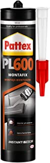 Pattex PL600, adhesivo resistente al agua y a temperaturas extremas, adhesivo de montaje para interiores y exteriores, pegamento extrafuerte, 1 cartucho x 300 ml