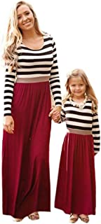 Kehen Parent-Child Dress, Mommy and Me Family Matching Clothes Long Sleeve Striped Stitching Long Dress Maxi Dresses