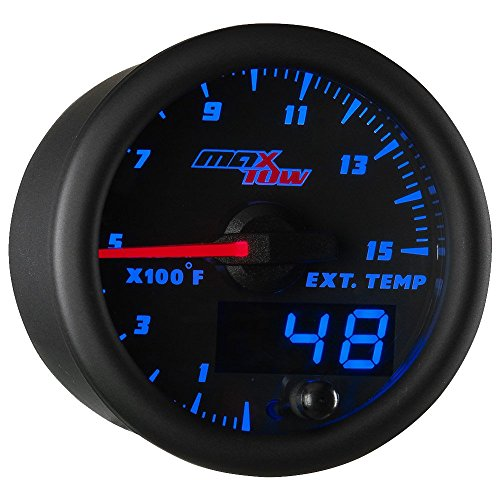 """MaxTow Double Vision 1500 F Pyrometer Exhaust Gas Temperature EGT Gauge Kit - Includes Type K Probe - Black Gauge Face - Blue LED Dial - Analog & Digital Readouts - for Diesel Trucks - 2-1/16"""" 52mm"""