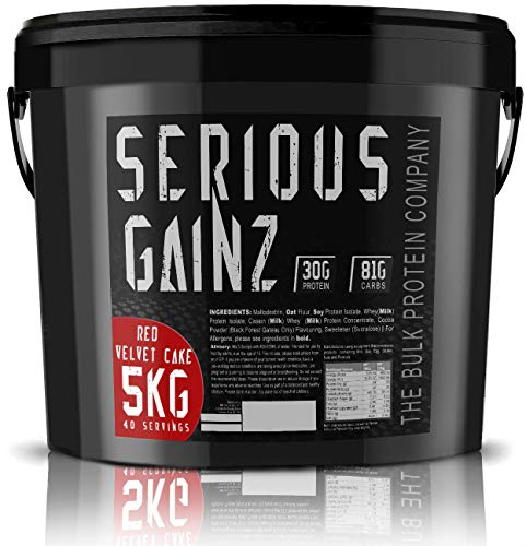 The Bulk Protein Company - SERIOUS Gainz Whey Protein Powder 5kg - Weight Gain, Mass Gainer - 30g Protein Powders - Red Velvet Cake