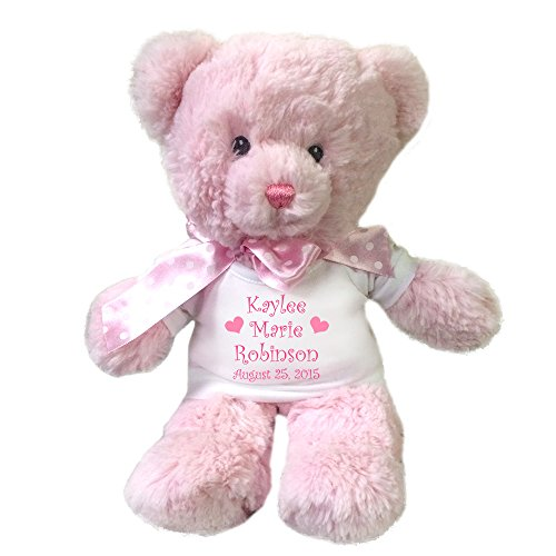 Personalized Pink Teddy Bear for Baby Girl - 12 Inches