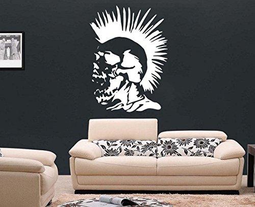 Punk Rock - vinilo adhesivo para pared con calavera con tatuaje y cresta, negro, Large - 59cm W x 80cm H