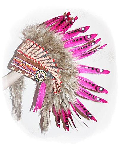 Hejoka NEU Indianer Federhaube ROSA Federschmuck PINK Kopfschmuck für FOTOSHOOTING Fasching Karneval