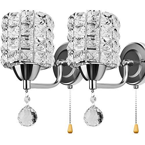 ALLOMN Aplique de Estilo Moderno, Lámpara de Pared Colgante de Cristal Dormitorio Pasillo Salón Lámpara de pared con Interruptor de Extracción E14 Enchufe (sin Bombilla Incluida) (Plata, 2 PCS)