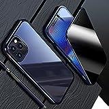 HHZY Funda para iPhone 13 Pro MAX Carcasa Magnética Vidrio Templado Transparente de Privacidad Parachoques de Metal Cubierta con Protección de Cuerpo Completo de 360 °,Azul,For 13 Pro