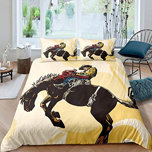 Evvaceo Child Bedding Set 3 Pieces Duvet Cover Retro Western Rodeo Animal Horses 200 Cm X 200 Cm Teens Boy Girl Bedroom Kindergarten Bedding Superfine Fiber Mattress Cover(Double)