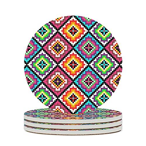 KittyliNO5 Posavasos redondos de cerámica con diseño de Egipto India, Maya (4/6 unidades, absorbentes, base de corcho, redondo), 10 cm, color blanco, 4 unidades
