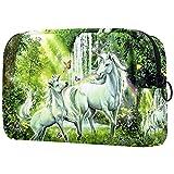 Kit de Maquillaje Neceser Unicornio Verde Fantasía Make Up Bolso de Cosméticos Portable Organizador Maletín para Maquillaje Maleta de Makeup Profesional 18.5x7.5x13cm