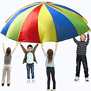 Playo Colorful 12-Foot Play Parachute for Kids with 8 Handles. Childrens Wind Parachute Canopy Tent for Outdoor Fun Activities. Great for Play Groups, Schools, Picnics and Party Games.