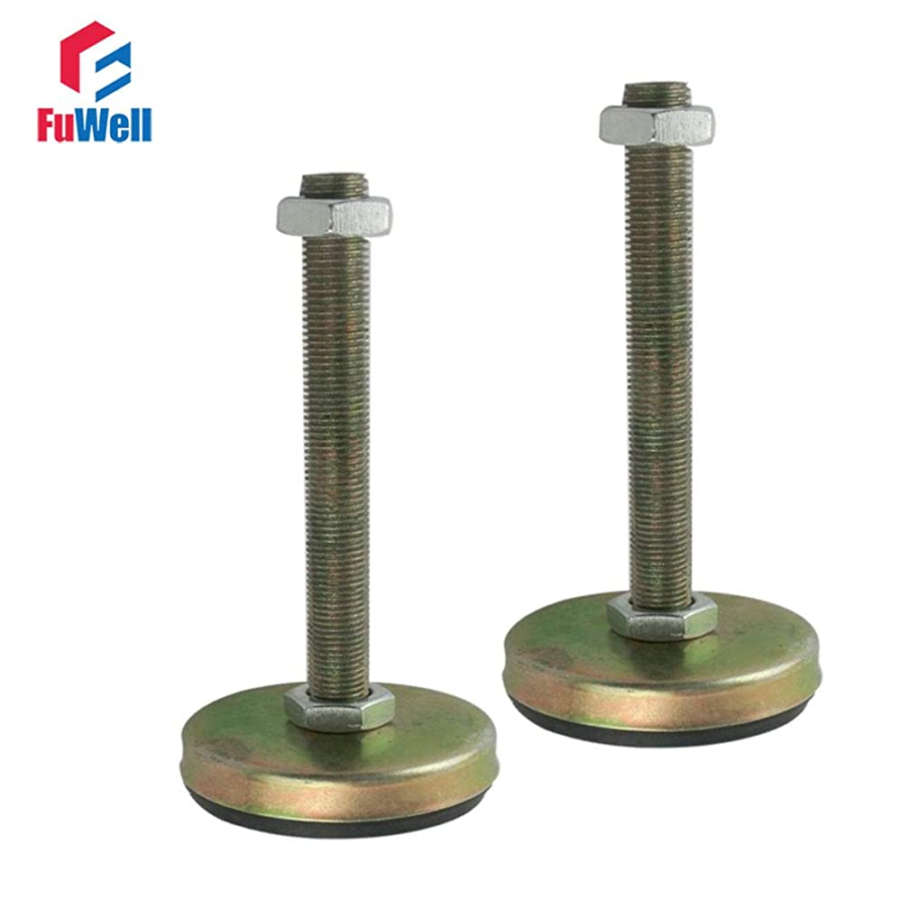 Fevas 2pcs M16 Thread 100/120/150mm Length Adjustable Foot Cup 75mm Base with Antislip Pad Leveling Foot for Furniture/Pipe Rack - (Size: M16x120mm)