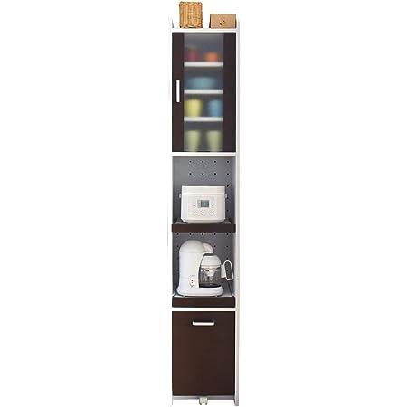 JKプランすきま 隙間収納 キッチン ミニ 食器棚 キッチン家電収納 家電ラック 家電収納棚 コンパクト 収納 スリム ラック 棚 幅 30 ホワイト 白 ブラウン TSFKC0533WHDB