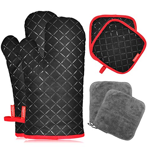 Zupora 6 Pcs Oven Mitts and Pot Holders, Heat Resistant Oven Gloves with Kitchen Towels, Soft Cotton Lining Non-slip Waterproof Kitchen Mittens for Baking, Cooking, BBQ (6-Piece Set, Black)