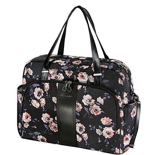 KROSER Laptop Tote Bag 15.6' Stylish Shoulder Bag Water-Repellent Large Travel Bag with RFID Pockets for Work/Business/School/College/Women-Rose Pattern