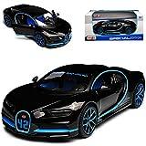 Maisto Bugatti Chiron Coupe Schwarz Weltrekord 42 Sekunden 0-400-0 Km/h Ab 2016 1/24 Modell Auto mit individiuellem Wunschkennzeichen -