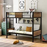 Polibi Twin-Over-Futon Couch and Bed, Metal Futon Bunk Bed with Guardrails and Ladder for Kids, Teens, Adults (Black)