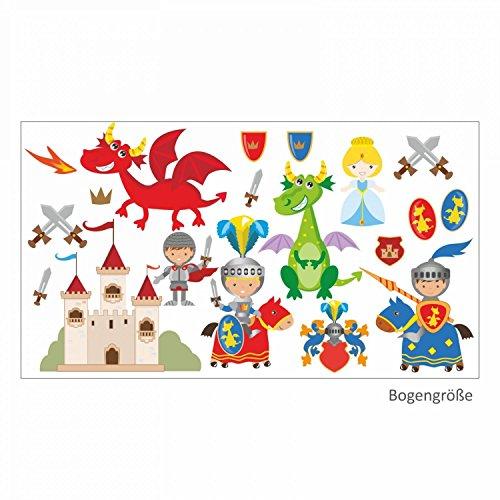 nikima Schönes für Kinder 008 Wandtattoo Ritter mit Drachen Burg Prinzessin Schwert Wappen- in 6 Größen - Kinderzimmer Sticker Wandaufkleber Wandsticker Wanddeko Wandbild Junge (750 x 420 mm)