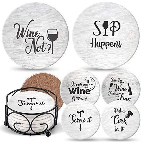 Ultimate Hostess Coasters for Drinks Absorbents with Holder - 6 Pcs Gift Set with 6 Funny Sayings for Wine Lovers - Ceramic Stone with Corked Back, Unique Present for Housewarming, Living Room Decor