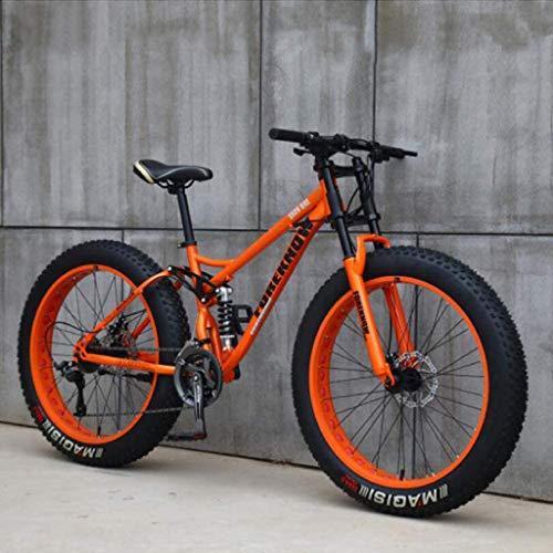 Mountainbike, 26 Zoll (66 cm), MJH-01, Erwachsene, Fat-Tyre-Mountain-Trail-Bike, 24-Gang-Fahrrad, Rahmen aus Karbonstahl, doppelte Vollfederung, doppelte Scheibenbremse, Orange/Cyan