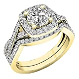 Dazzlingrock Collection 2.55 Carat (Ctw) 10K Round Cubic Zirconia Ladies Engagement Ring Set 2 1/2 CT, Yellow Gold, Size 7