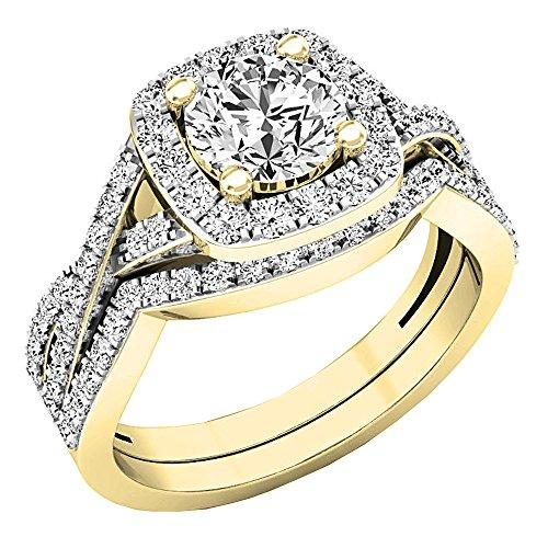 Dazzlingrock Collection 2.55 Carat (Ctw) 10K Round Cubic Zirconia Ladies Engagement Ring Set 2 1/2 CT, Yellow Gold, Size 7