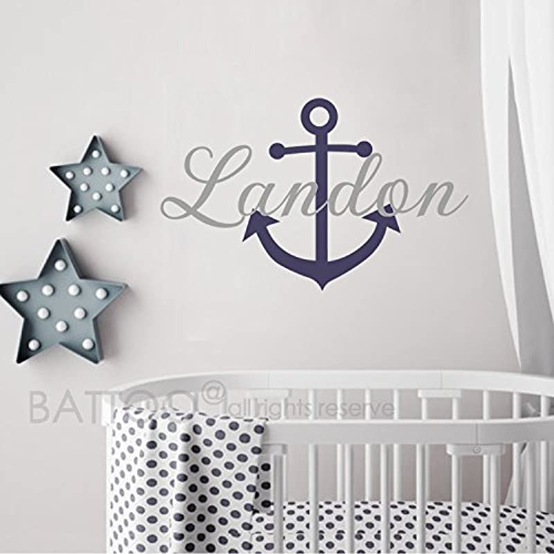 BATTOO Name Wall Decal Anchor Name Wall Decal Nautical Baby Room Decor Anchor Wall Decal Nursery Wall Decals Vinyl Art Sticker
