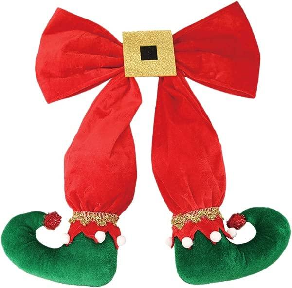 BESTOYARD 2pcs Christmas Tree Hanging Ornament Decorations Xmas Elf Boots Hanging Decor Green