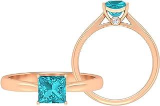 Anello da 5,50 mm creato in laboratorio Paraiba verde, taglio principessa, anello in oro moissanite D-VSSI, anello di fida...