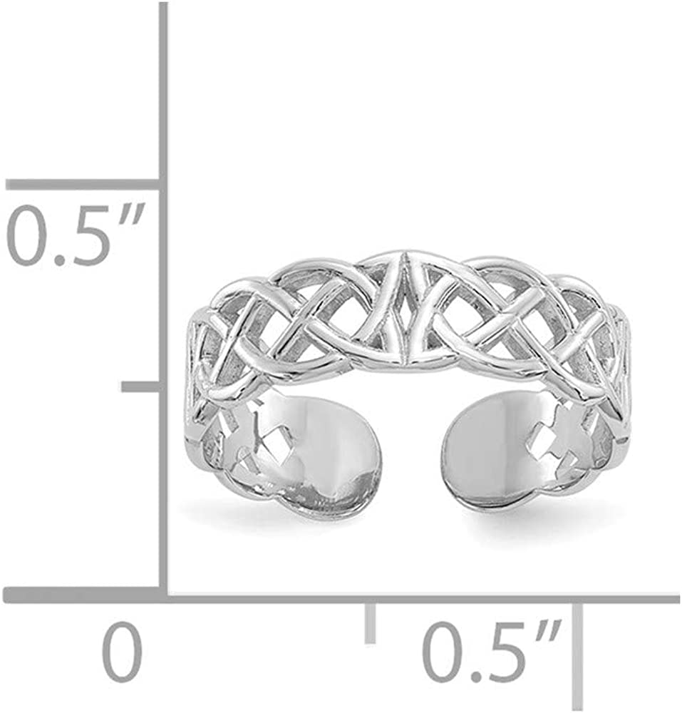 14K White Gold Polished w/Design Toe Ring
