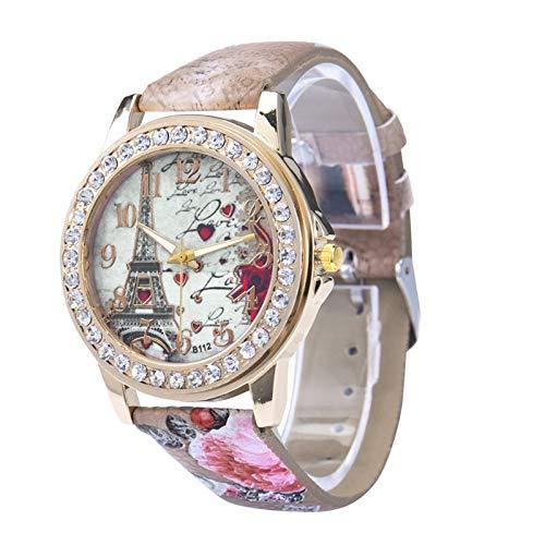 XJS Reloj de Moda La Moda de París de la Torre Eiffel de la Vendimia de Cuero de Lujo Relojes Mujeres Relojes de Cuarzo Muchachas de Las Mujeres señoras Ocasionales creativos de Pulsera para Mujeres