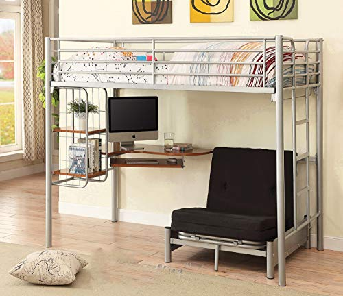 Twin Size Studio Loft Bed with L Shape Desk for Kids, Teens, Adults, College Students Dorm with Metal Frame, Includes Under Bed Cot Size Convertible Chair Folding Bed (Twin)