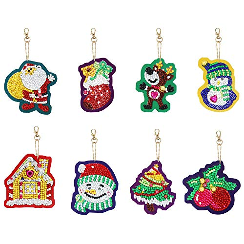 Gukasxi 8 Pcs Christmas DIY Diamond Keychain, 5D DIY Diamond Painting Key Chain Pendant Full Drill Rhinestone Art Crafts Keychain for Adults Children Christmas Birthday Gifts Decor