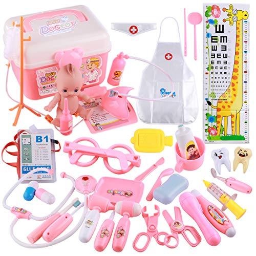 Foxom Arztkoffer Kinder, 37 Stück Kinder Arztkoffer Doktorkoffer Spielzeug Doktor Spielset Rollenspiel Lernspielzeug für Mädche und Junge ab 3 Jahre