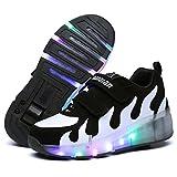 srder-Clignotante Chaussures à roulettes, 7 Colorés LED Roller Chaussures de Skateboard Baskets Lumineuse avec Roues Sport Multisports Gymnastique Mode pour Garçons et Filles Enfants Boys Girls Gift