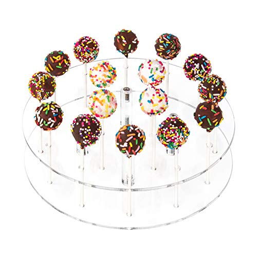 YestBuy Cake Pop Display Stand, 19 Hole Cake Pop Holder, Lollipop Holder for Weddings, Birthday Parties, Anniversaries Gift, Halloween, Christmas Candy Decorative (Clear)