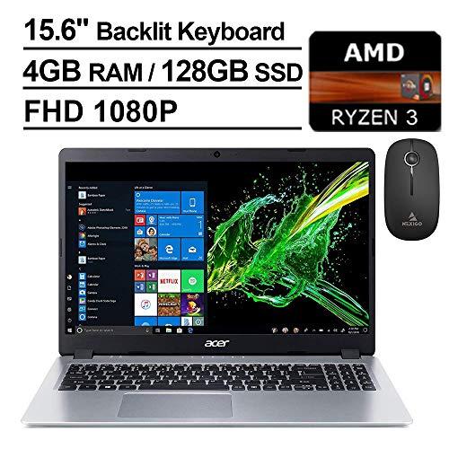 2020 Acer Aspire 5 15.6 Inch FHD 1080P Slim Laptop| AMD Ryzen 3 3200U up to 3.5 GHz| 4GB RAM| 128GB SSD| Backlit KB| WiFi| Bluetooth| HDMI| Windows 10 + NexiGo Wireless Mouse Bundle