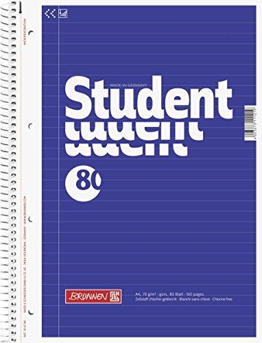 Brunnen 1067941 Notizblock / Collegeblock Student (A4, liniert, 70 g/m², 80 Blatt)