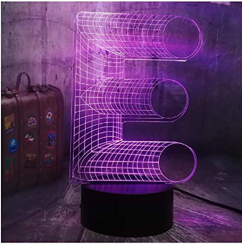 Alphabet E Multicolor Letter Neuheit 3D Led Nachtlicht 7 Farbe Schlafzimmer Dekor Jungen Kid Toy Weihnachten Geburtstagslampe