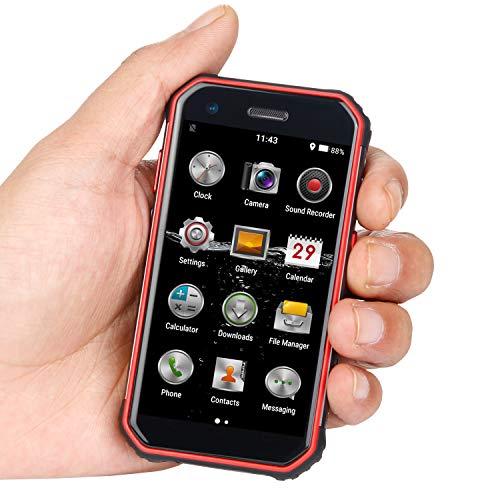 Mini Smartphone 3.0'Teléfono móvil a Prueba de Agua 4G Desbloqueado Teléfono Celular Dual SIM GPS NFC 3 + 32GB ROM (Negro+Rojo)