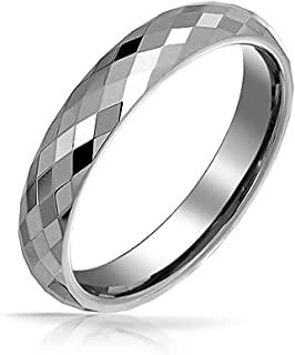 Couples Multi Faceted Prism Cut Titanium Wedding Band Rings for Men for Women Silver Tone Comfort Fit 4MM