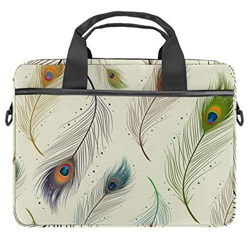 Laptop Bag 14.5 Inch, Business Briefcase for Men Women Shoulder Messenger Bag Case Sleeve Elegant Peacock Feather Handle Case for Computer/Notebook/MacBook