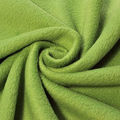 STOFFKONTOR Polar Fleece Stoff Meterware, Fleecestoff zum Nähen mit Antipilling Eigenschaften - Lind-Grün