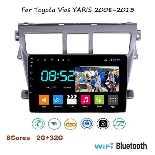 Yuahwyehe Android 8.1 9 Pulgadas con Pantalla Táctil De Radio para Toyota Vios Yaris 2008-2013 con Bluetooth USB WiFi Ayuda SWC TV De Estéreo del Coche con La Cámara De...