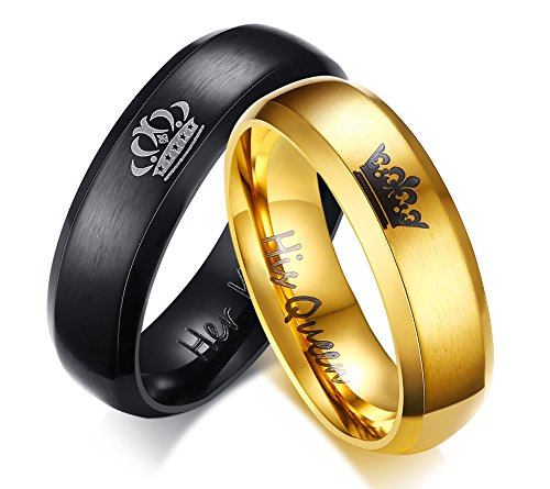 vnox Acero Inoxidable His Queen Her King collar con colgante para pareja Set for Him Her Promise Wedding Engagement Valentine Gift