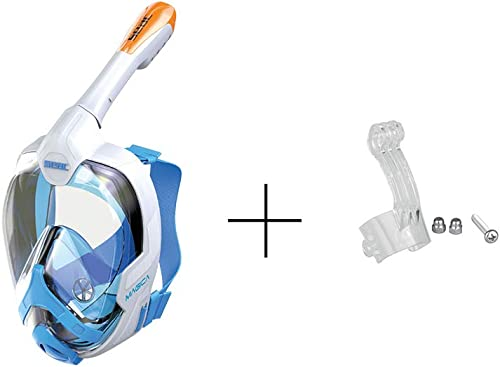 Masque Facial de Snorkeling L XL Blanc Orange avec Support pour GoPro