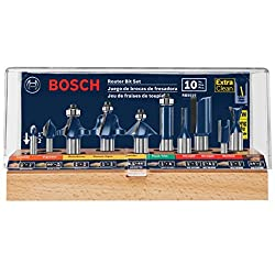 Bosch RBS010 1/2inch and ¼ inch shank 10 pieces professional Router bit set.