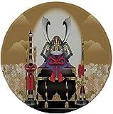 Alfombrilla de ratón Redonda de Goma Antideslizante Japonesa Antigua Caja Ornamental de Arquero con Casco y Flechas con Flores al Atardecer Amarillo Negro 7.9'x7.9'x3MM