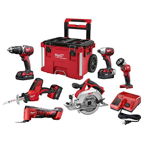 Cheapest Price! Milwaukee M18 18-Volt Lithium-Ion Cordless Combo Kit (6-Tool) W/ 3-Batteries, Charge...