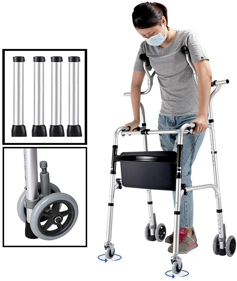 Bastidores para caminar para personas mayores, andador, andador plegable para personas mayores con soporte axilar, muleta de aluminio resistente con 4 ruedas, andador vertical para personas altas, car